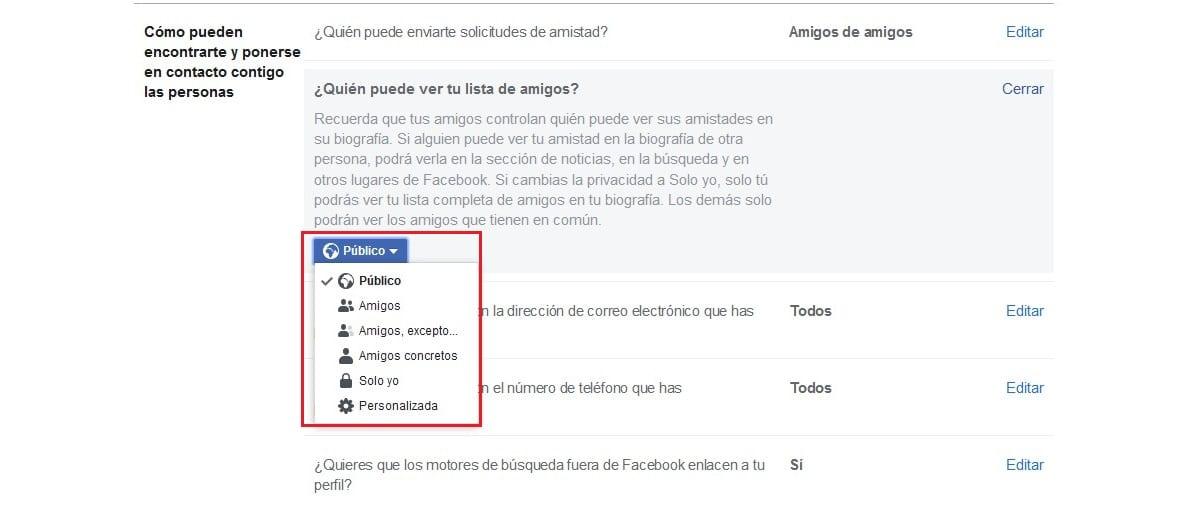 ocultar la lista de amigos en Facebook