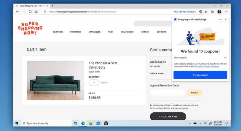 Microsoft Edge compras