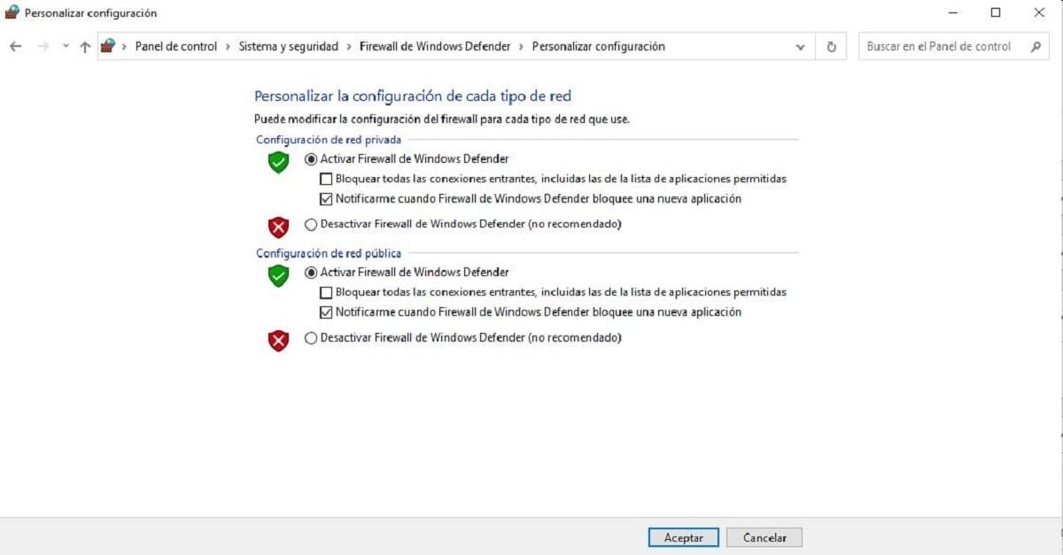 desactivar firewall windows