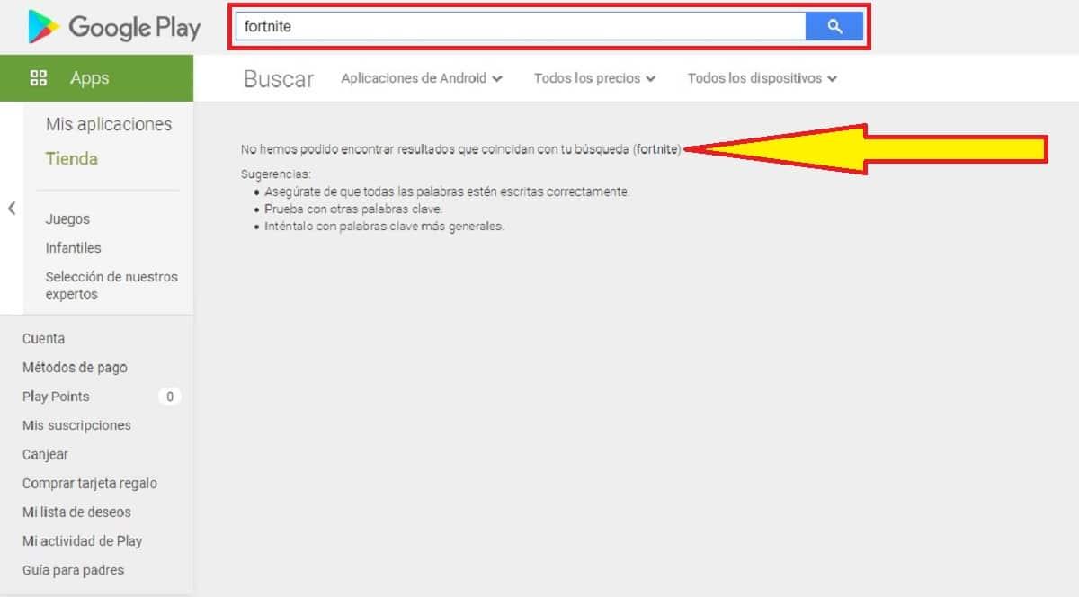 Fortnite no disponible en Play Store