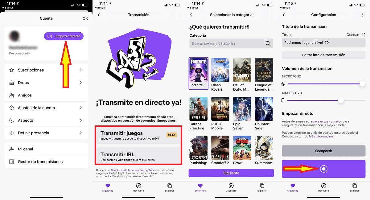 Transmitir Twitch desde móvil