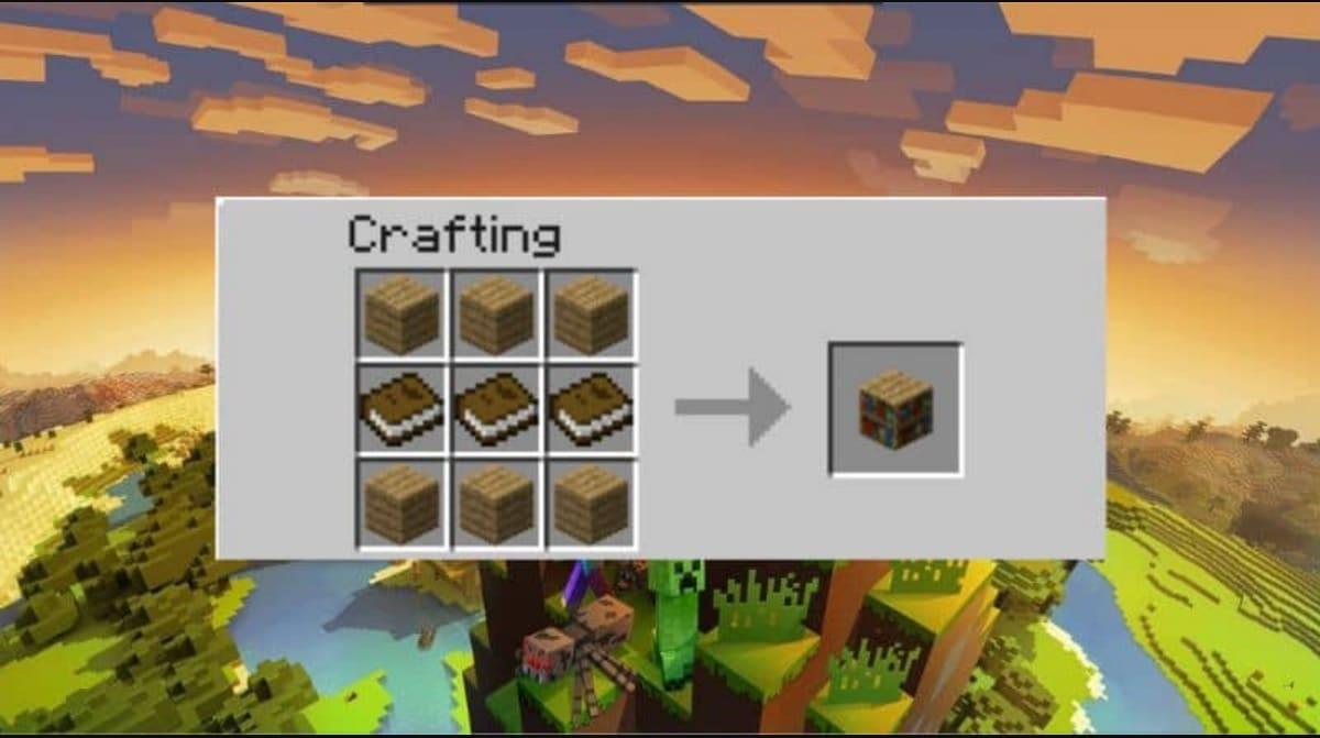 Receta crafteo libreria Minecraft
