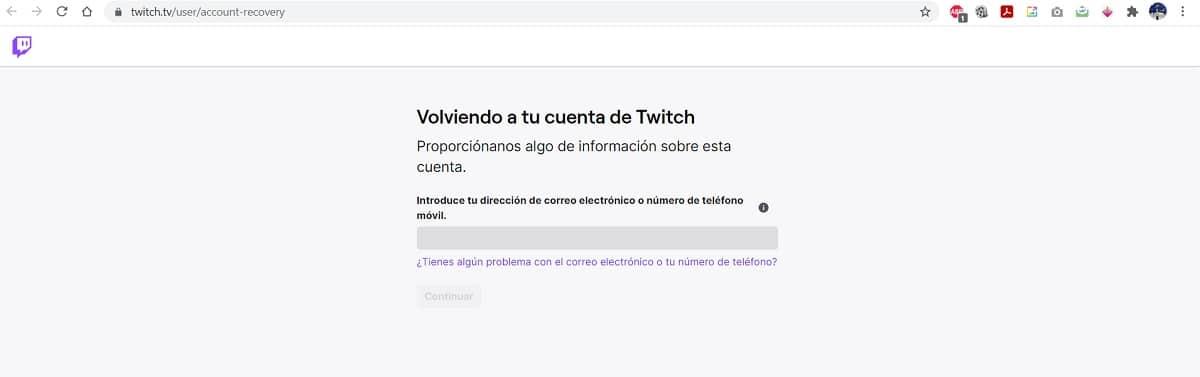 Recuperar cuenta Twitch