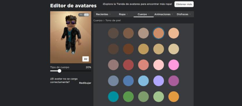 Colores para el avatar cuerpo