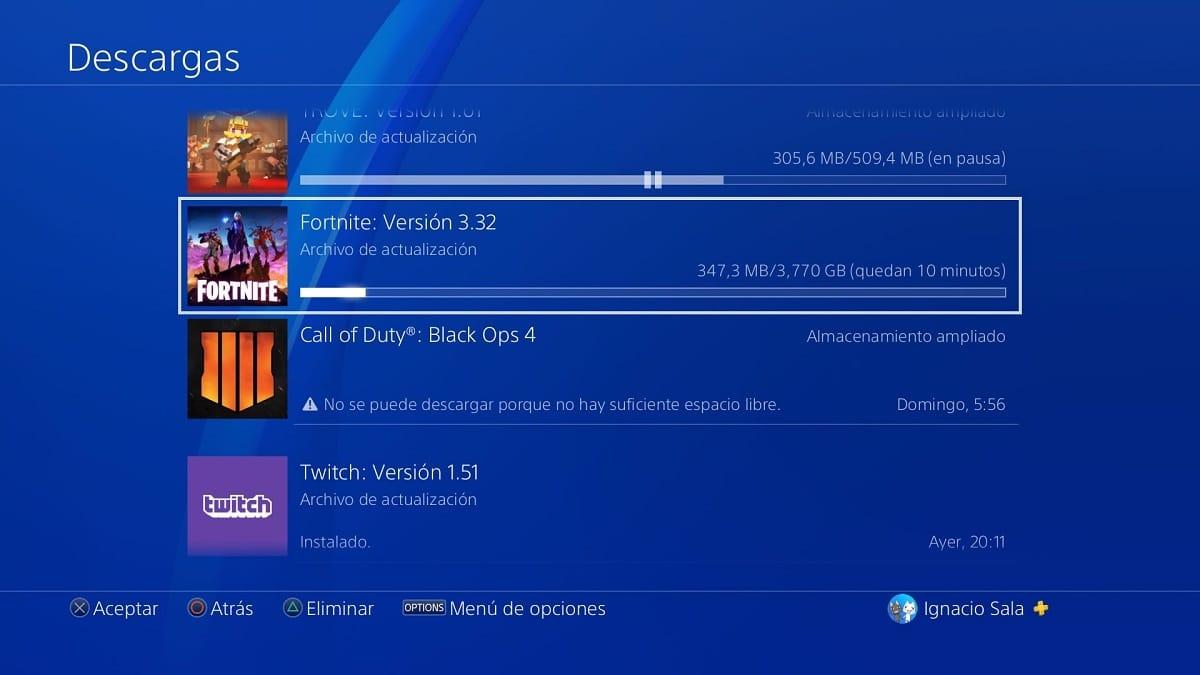 Actualizar Fortnite en PS4