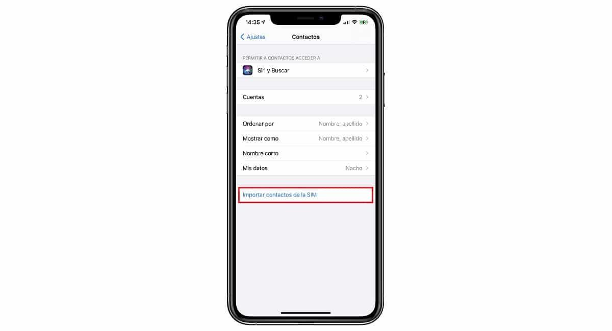 Importar contactos SIM en iPhone