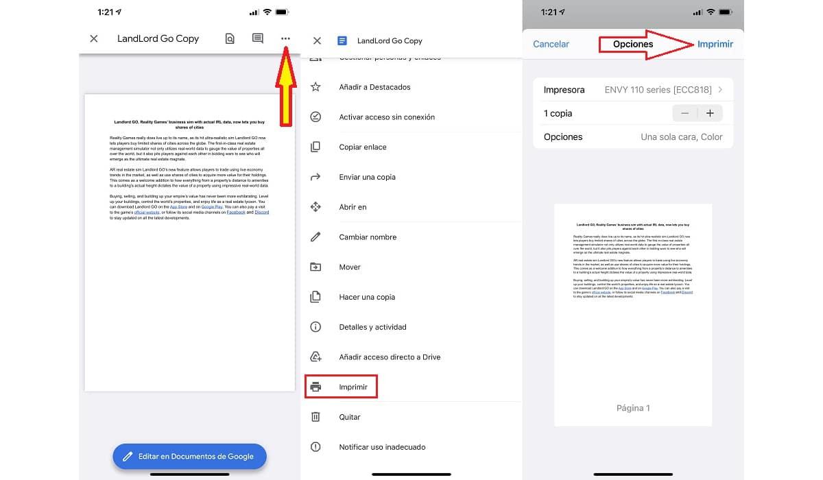 imprimir documentos desde un iPhone