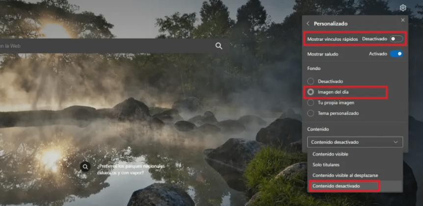 Microsoft Edge interfaz