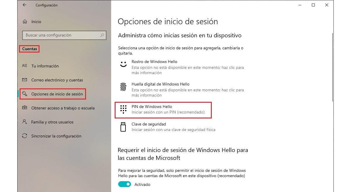 Añadir PIN a windows 10