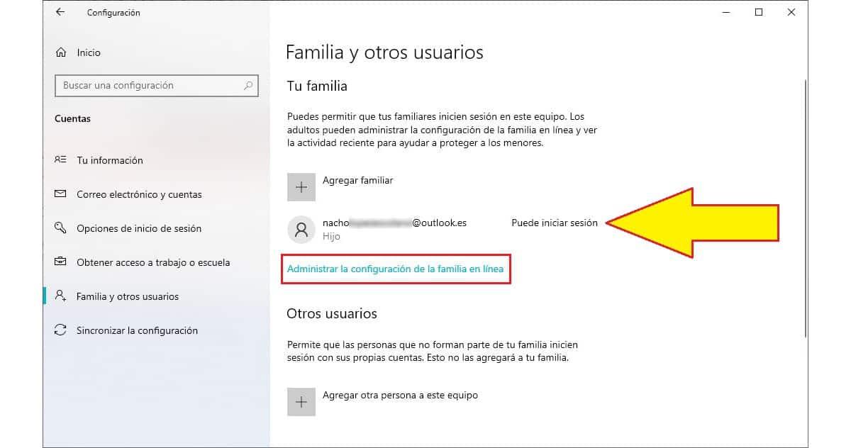Configurar control parental Windows 10