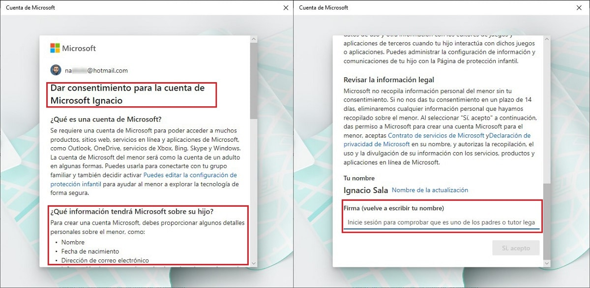 Crear cuenta de un menor en Windows 10